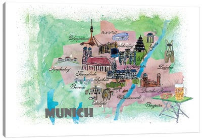 Munich, Bavaria, Germany Travel Poster Canvas Art Print