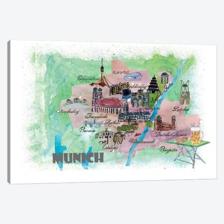 Munich, Bavaria, Germany Travel Poster Canvas Print #MMB26} by Markus & Martina Bleichner Canvas Artwork