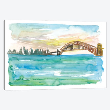 Sydney Australia Harbour Bridge And Opera At Sunset Canvas Print #MMB270} by Markus & Martina Bleichner Canvas Art