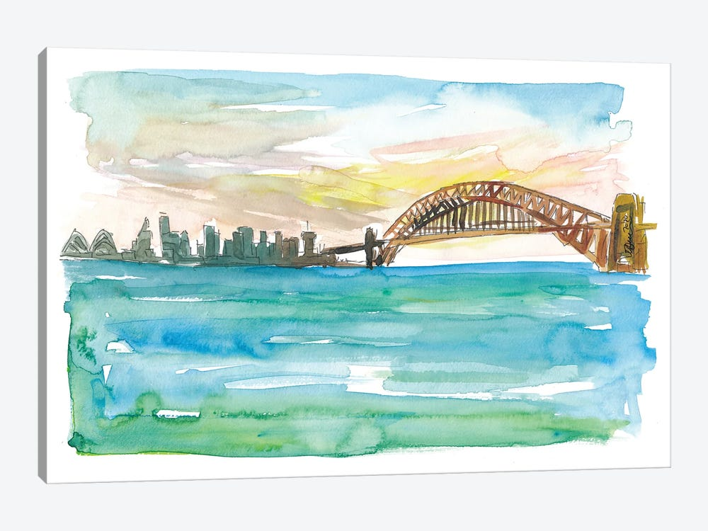 Sydney Australia Harbour Bridge And Opera At Sunset by Markus & Martina Bleichner 1-piece Canvas Art Print