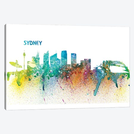 Sydney Australia Skyline Impressionistic Splash Canvas Print #MMB271} by Markus & Martina Bleichner Canvas Wall Art