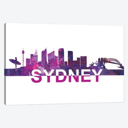 Sydney Skyline Scissor Cut Giant Text Canvas Print #MMB272} by Markus & Martina Bleichner Canvas Artwork
