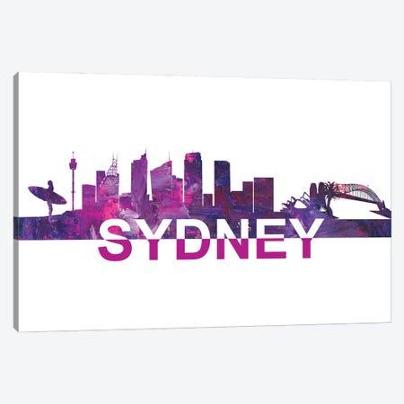 Sydney Skyline Scissor Cut Giant Text Canvas Print #MMB272} by Markus & Martina Bleichner Canvas Artwork