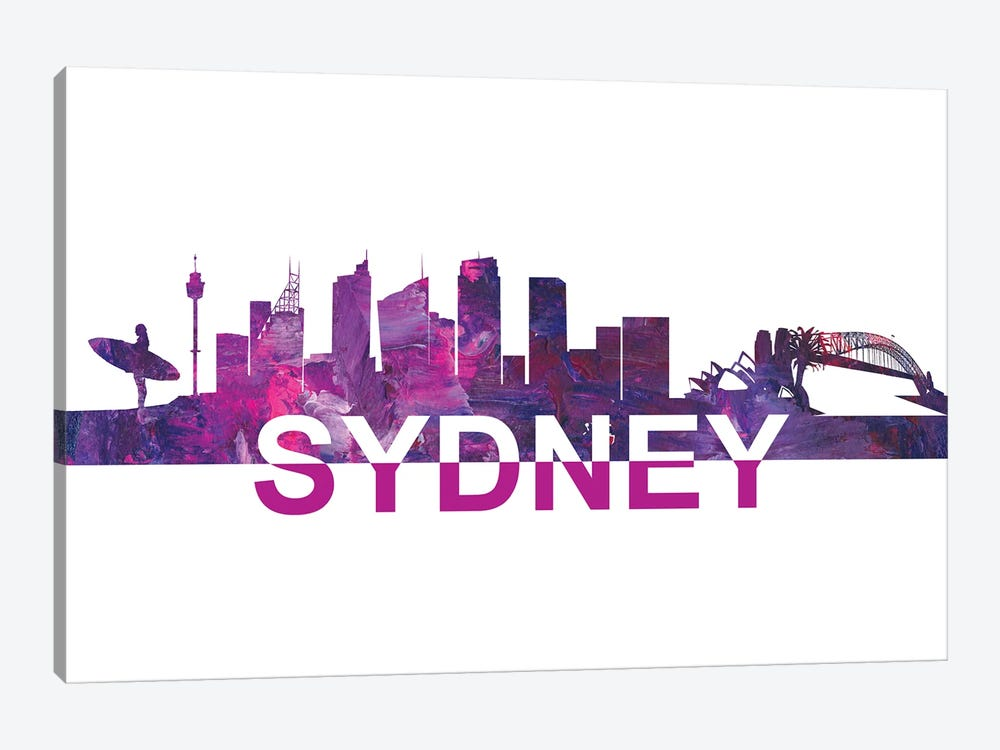 Sydney Skyline Scissor Cut Giant Text by Markus & Martina Bleichner 1-piece Canvas Art Print