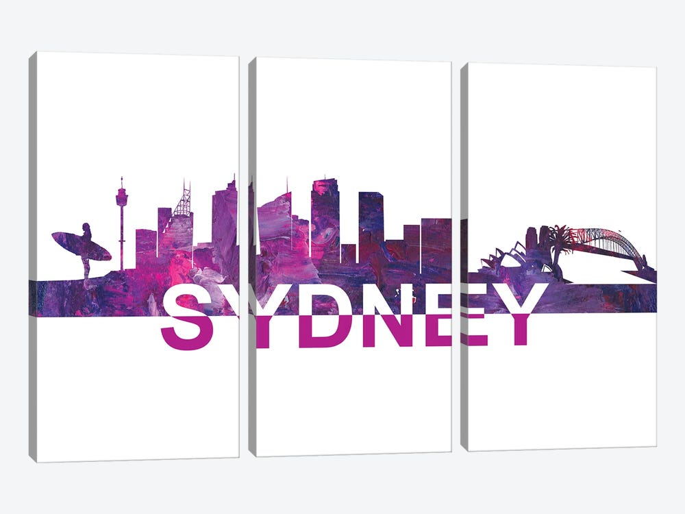 Sydney Skyline Scissor Cut Giant Text by Markus & Martina Bleichner 3-piece Canvas Art Print