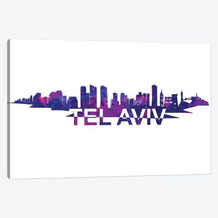 Tel Aviv Israel Skyline Scissor Cut Giant Text Canvas Print #MMB275} by Markus & Martina Bleichner Canvas Art Print