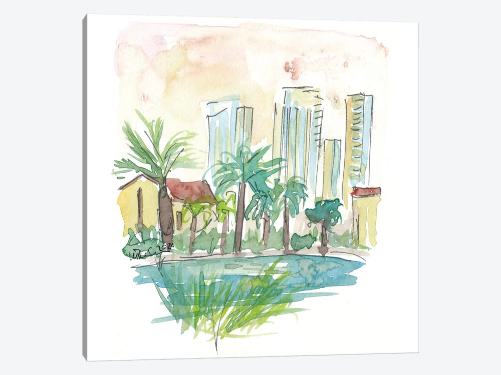 View Of Pond In Sarona Tel Aviv by Markus & Martina Bleichner 1-piece Canvas Art