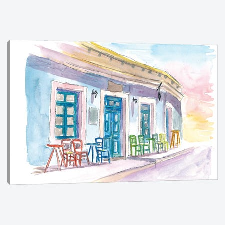 Little Harbour Bar Restaurant In Greece Canvas Print #MMB278} by Markus & Martina Bleichner Canvas Wall Art