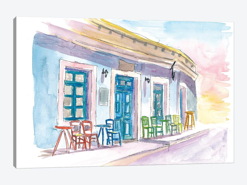 Little Harbour Bar Restaurant In Greece by Markus & Martina Bleichner 1-piece Canvas Art Print