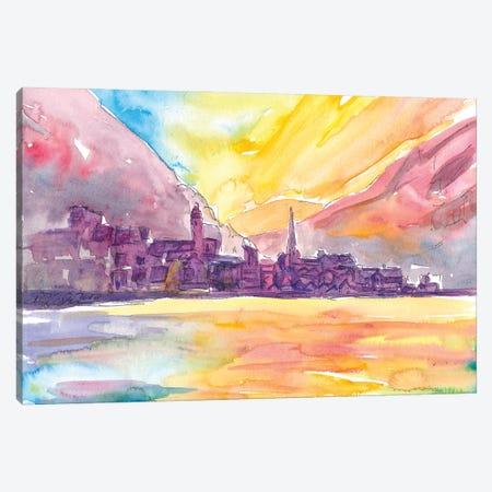 Hallstatt Dream Sunset Scene With Mountains And Lake Canvas Print #MMB279} by Markus & Martina Bleichner Canvas Artwork