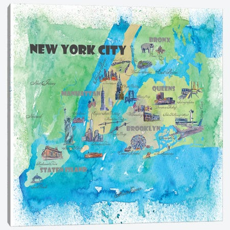 New York City, NY Travel Poster Canvas Print #MMB27} by Markus & Martina Bleichner Canvas Art