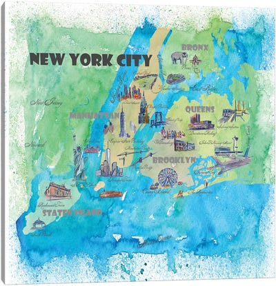 New York City, NY Travel Poster Canvas Art Print