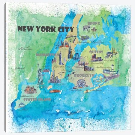 New York City, NY Travel Poster Canvas Print #MMB27} by Markus & Martina Bleichner Canvas Art