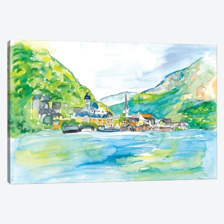 Incredible Hallstatt With Lake And Mountains In Salzkammergut Austria Canvas Print #MMB280} by Markus & Martina Bleichner Canvas Art Print