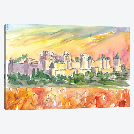 Carcassonne Fortified City In Occitanie With VInery At Sunset Canvas Print #MMB281} by Markus & Martina Bleichner Art Print