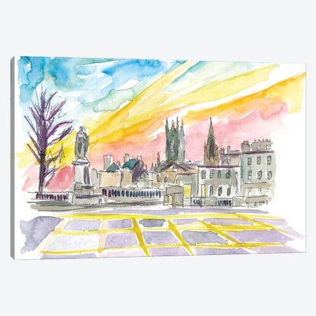 Aberdeen Scotland Street Scene At Sunset Canvas Print #MMB282} by Markus & Martina Bleichner Canvas Art Print