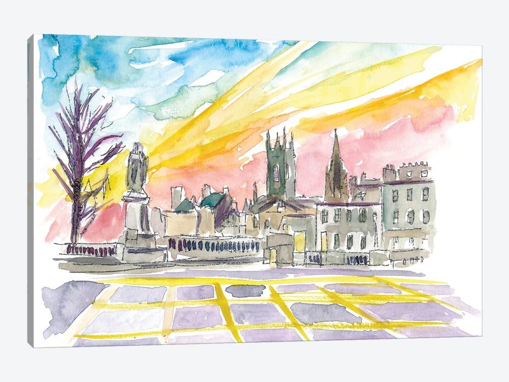 Aberdeen Scotland Street Scene At Sunset by Markus & Martina Bleichner 1-piece Canvas Artwork