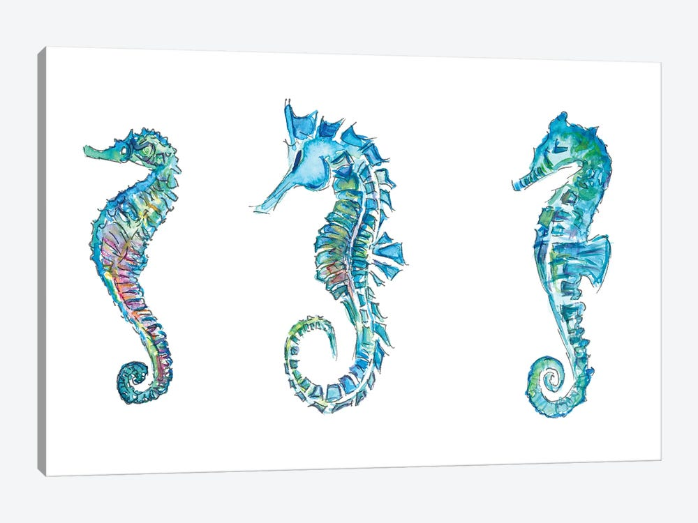 Seahorses Trio In Colorful Hippocampus Style by Markus & Martina Bleichner 1-piece Art Print
