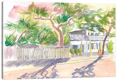 Key West Strolling Around Blue Heaven Thomas St Canvas Art Print