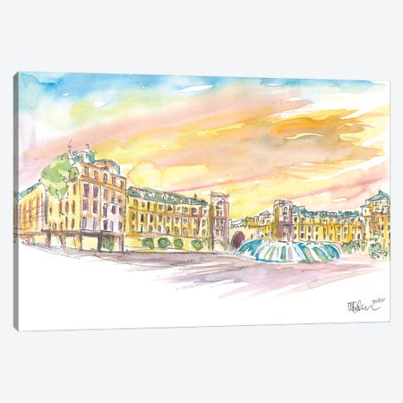 Munich Bavaria Stachus Place At Sunset Canvas Print #MMB285} by Markus & Martina Bleichner Canvas Wall Art