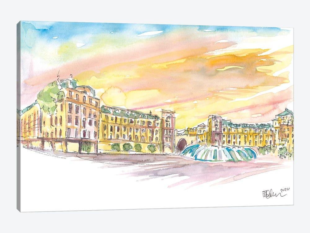 Munich Bavaria Stachus Place At Sunset by Markus & Martina Bleichner 1-piece Canvas Art Print