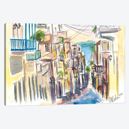 San Juan Puerto Rico Street Scene With Harbour VIew Canvas Print #MMB286} by Markus & Martina Bleichner Canvas Wall Art
