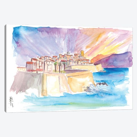 Antibes French Riviera Cityscape in Sunset Canvas Print #MMB287} by Markus & Martina Bleichner Canvas Artwork