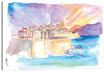 Antibes French Riviera Cityscape in Sunset Canvas Art Print