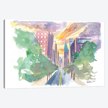 New York City Lexington Avenue View Of Skyline Canvas Print #MMB289} by Markus & Martina Bleichner Art Print