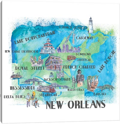 New Orleans, Louisiana Travel Poster Canvas Art Print