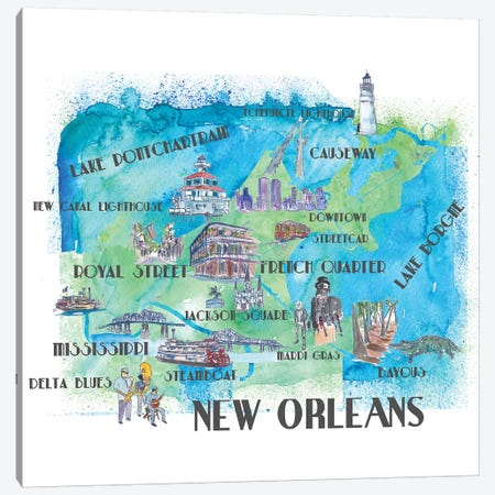 New Orleans, Louisiana Travel Poster Canvas Print #MMB28} by Markus & Martina Bleichner Art Print