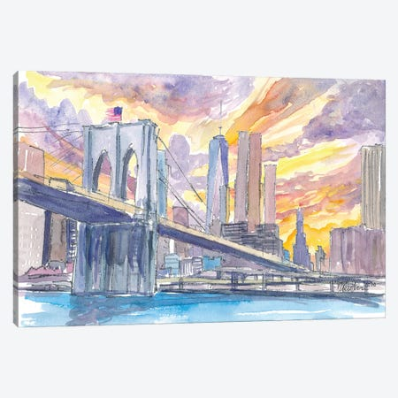 Brooklyn Bridge At Sunset With Manhattan Skyline Canvas Print #MMB290} by Markus & Martina Bleichner Canvas Artwork