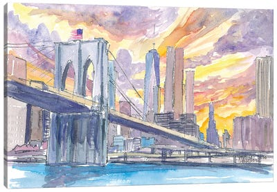 Brooklyn Bridge At Sunset With Manhattan Skyline Canvas Art Print