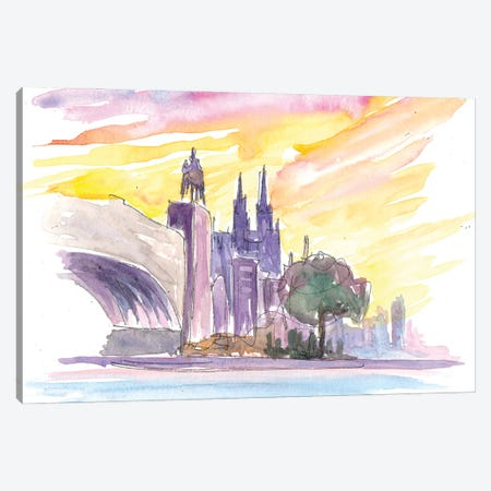Cologne Sunset With Dome Rhine And Bridge Canvas Print #MMB293} by Markus & Martina Bleichner Canvas Artwork