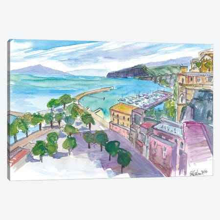 Sorrento With Harbour And View Of Cliffs And Vesuviús Canvas Print #MMB295} by Markus & Martina Bleichner Art Print