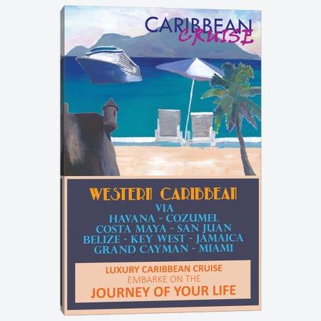 Western Caribbean Cruise Retro Travel Poster Canvas Print #MMB296} by Markus & Martina Bleichner Canvas Art Print