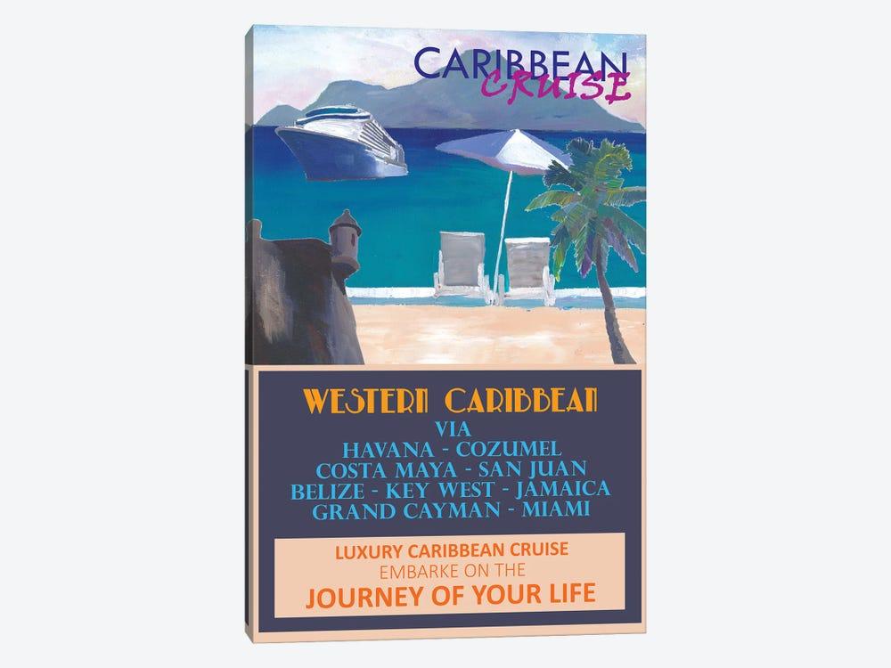 Western Caribbean Cruise Retro Travel Poster by Markus & Martina Bleichner 1-piece Canvas Print