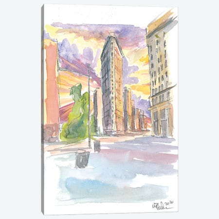 Spectacular Flatiron Sunset In New York City Canvas Print #MMB297} by Markus & Martina Bleichner Art Print