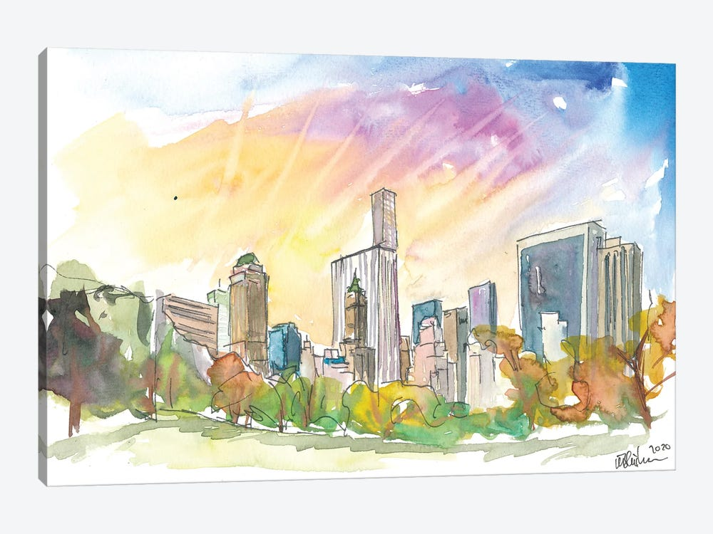 Late Afternoon In Central Park New York City by Markus & Martina Bleichner 1-piece Canvas Wall Art