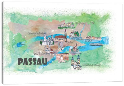 Passau, Bavaria, Germany Travel Poster Canvas Art Print