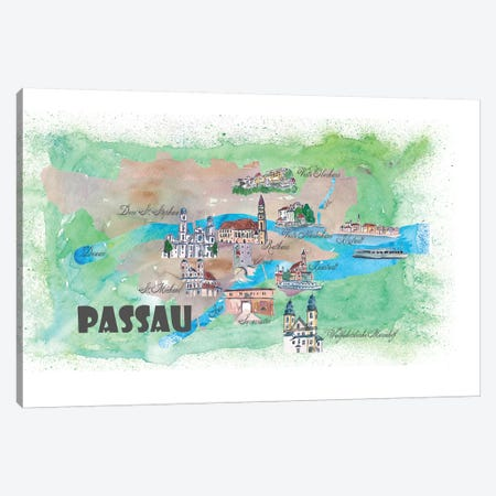Passau, Bavaria, Germany Travel Poster Canvas Print #MMB29} by Markus & Martina Bleichner Art Print