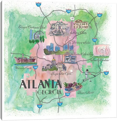 Atlanta, Georgia Travel Poster Canvas Art Print