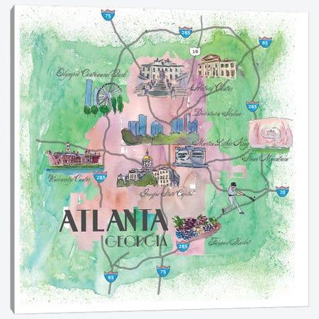 Atlanta, Georgia Travel Poster Canvas Print #MMB2} by Markus & Martina Bleichner Canvas Print