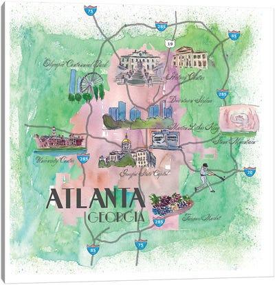 Atlanta, Georgia Travel Poster Canvas Art Print