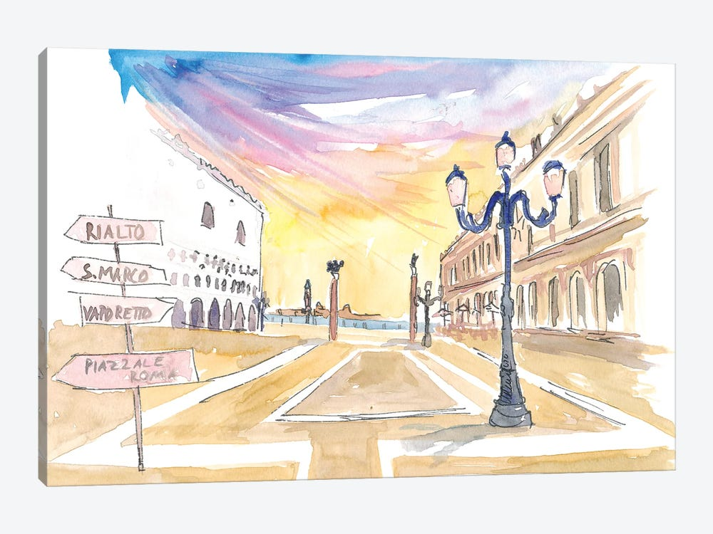 Per San Marco - Signpost On St Mark Square In Venice Italy by Markus & Martina Bleichner 1-piece Art Print