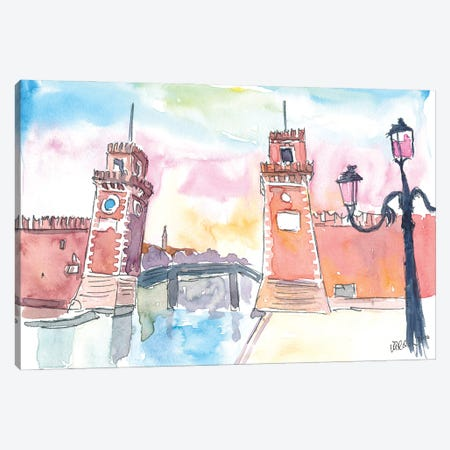Venice Arsenal Gate At Warm Sunset Canvas Print #MMB301} by Markus & Martina Bleichner Canvas Art