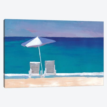 Beach Chair And Parasol On The Beach Canvas Print #MMB303} by Markus & Martina Bleichner Canvas Wall Art