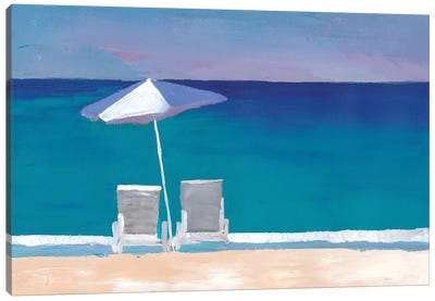 Beach Chair And Parasol On The Beach Canvas Art Print