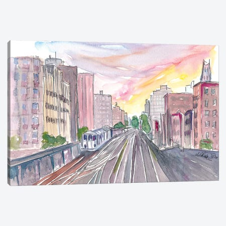 New York Skyline With Rails And Subway Canvas Print #MMB305} by Markus & Martina Bleichner Canvas Print