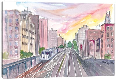 New York Skyline With Rails And Subway Canvas Art Print
